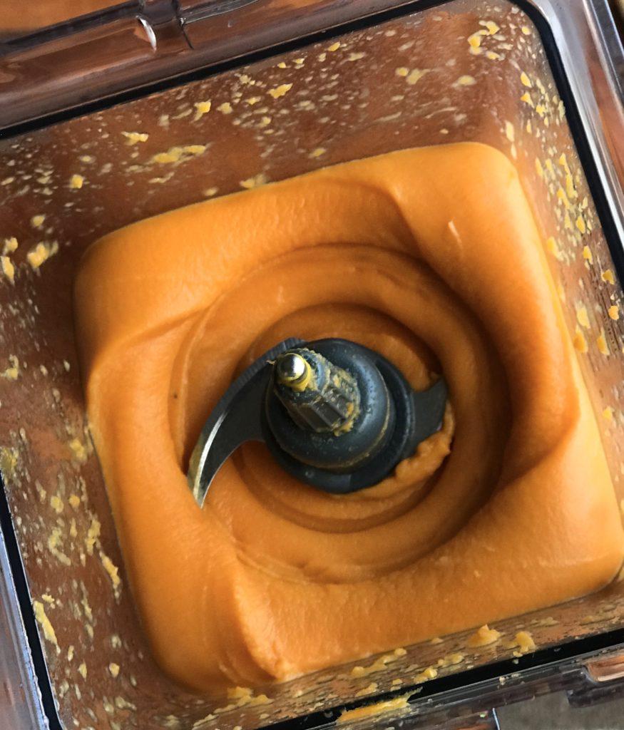 Overhead shot of potato mash blended in a blender