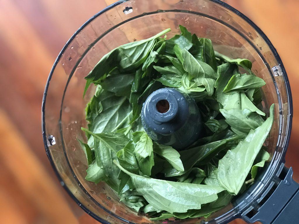 Fresh basil leaves in a food processor