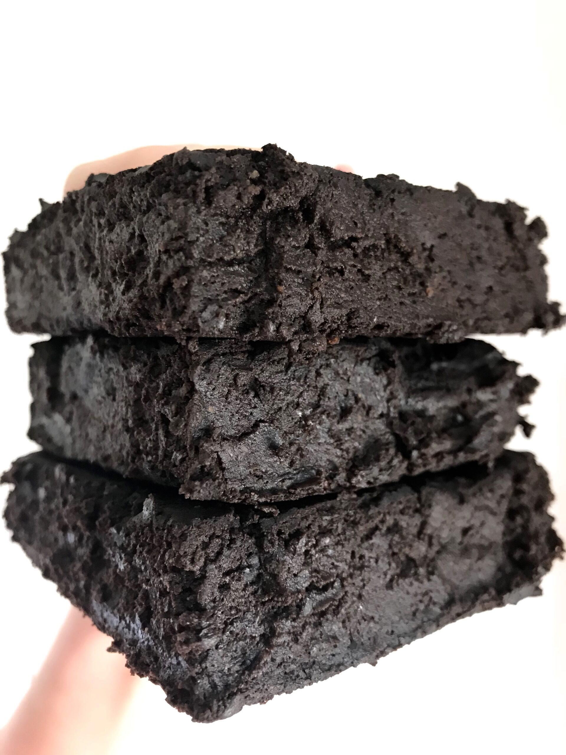 Up-close shot of a stack of Fudgy Black Bean Brownies