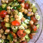 Overhead shot of a bowl of pesto chickpea salad