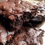 Side shot of a stack of Fudgy Almond Flour Brownies