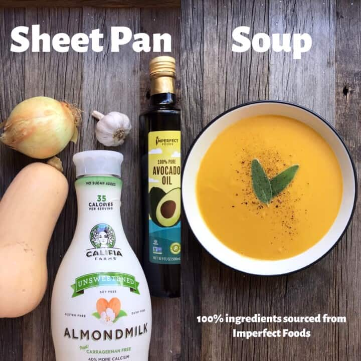 Side by side shot of Sheet Pan Squash Soup ingredients and finished soup