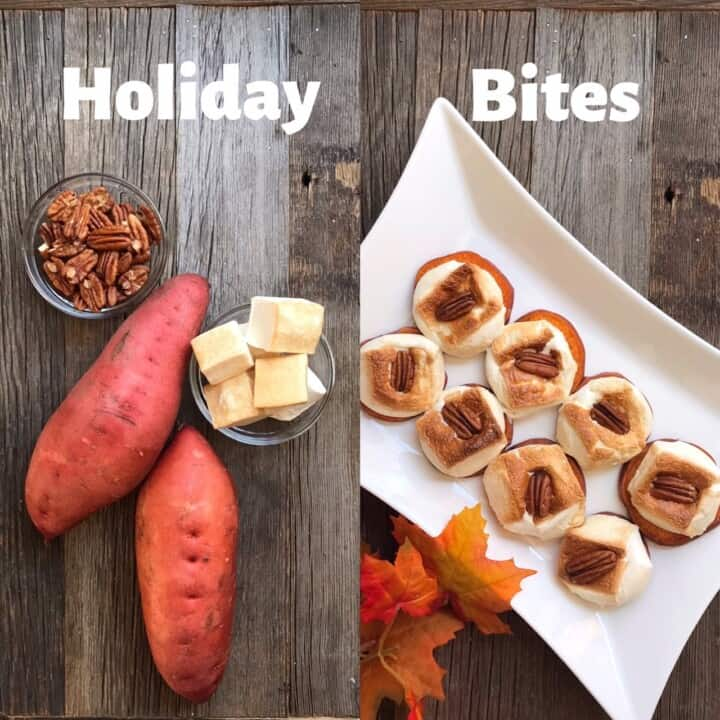 "Side by side comparison photo of Sweet Potato ""Casserole"" Bites ingredients and finished product"