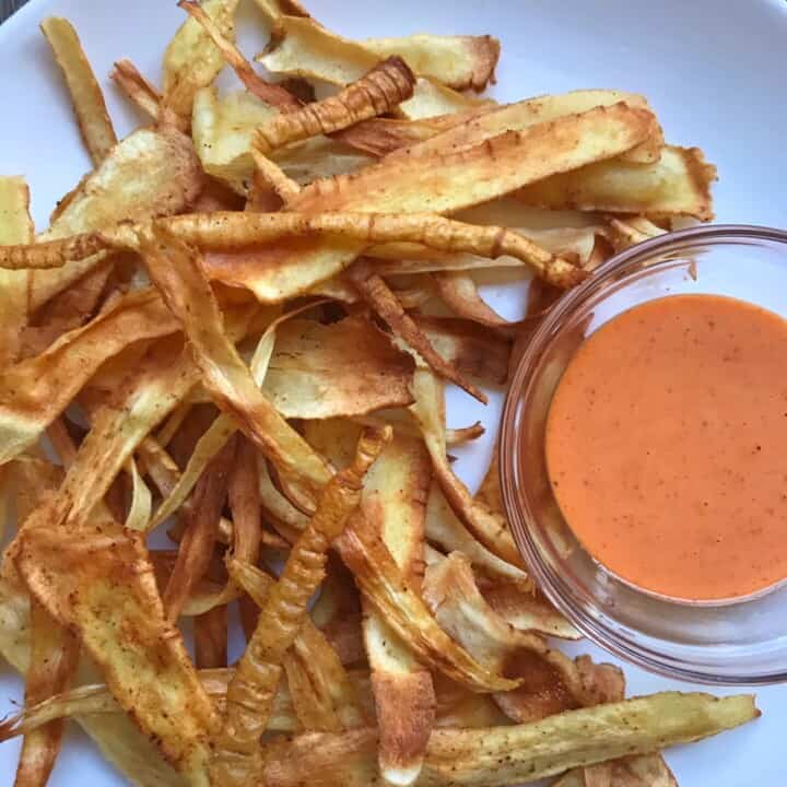Overhead shot of Smokey & Spicy Parsnip Crisps