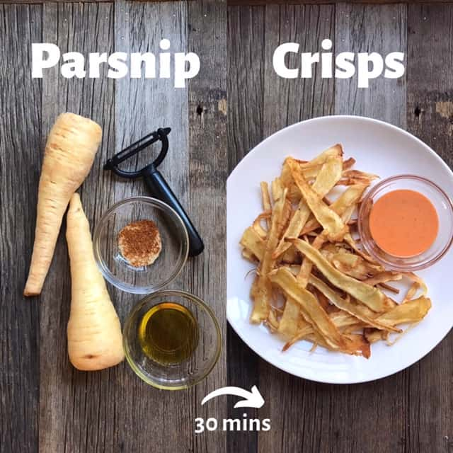 Side-by-side shot of parsnip crisp ingredients next to the finished recipe.