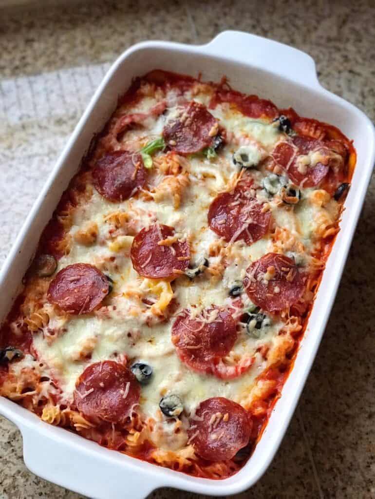Overhead shot of baked Easy Pizza Pasta Bake