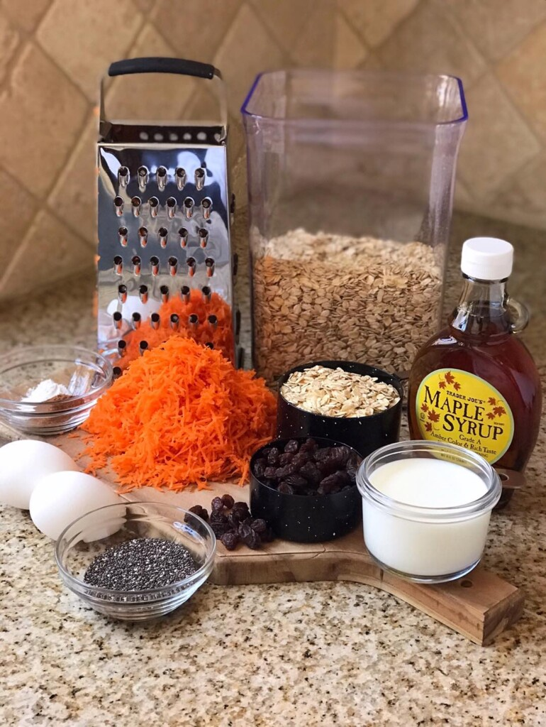 Shot of ingredients of carrot cake oatmeal