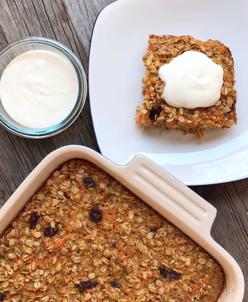 Overhead shot of Carrot Cake Baked Oatmeal and cream cheese frosting