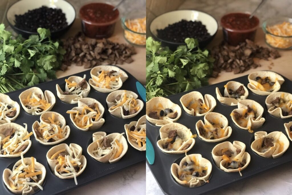 Mini Beef Taco Cups before and after