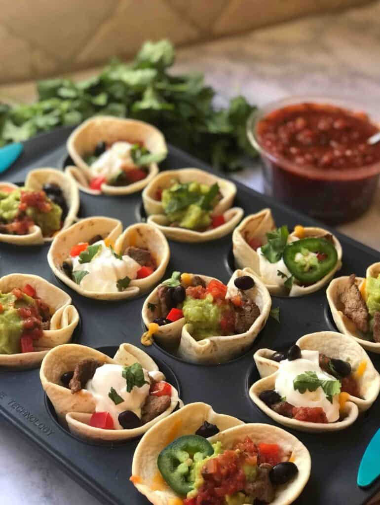 Taco Cups in a muffin tray