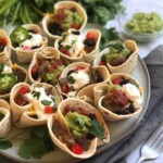 Mini Beef Taco Cups on a platter