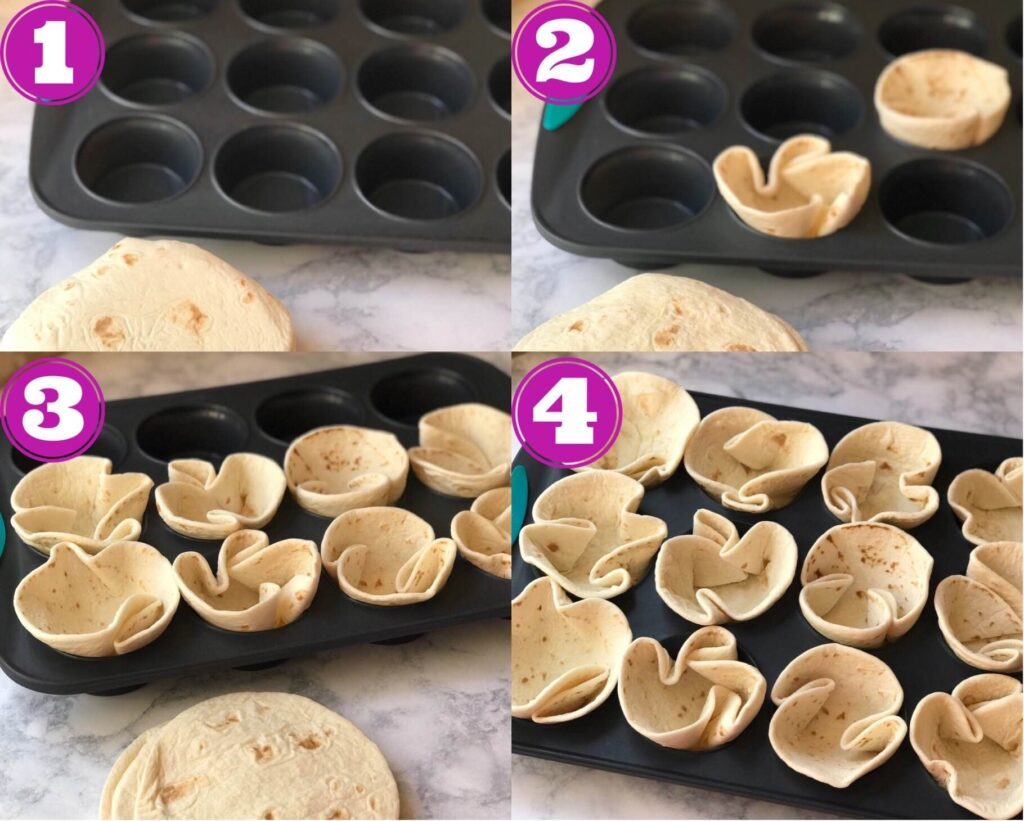4 images showing how to fill muffin tray with tortillas to create crispy cups.