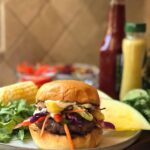 Closeup shot of Rainbow Beef Burger on a plate