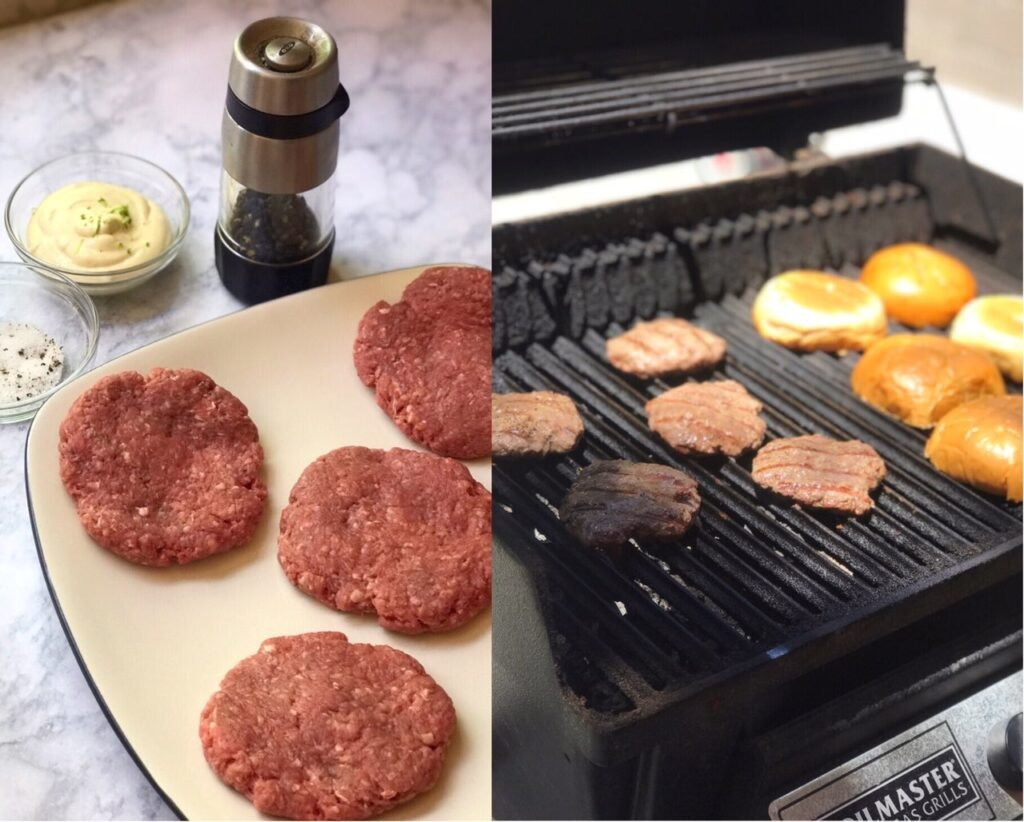 Side by side photos showing raw burger patties and grilled