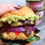Closeup shot of salmon patty burger