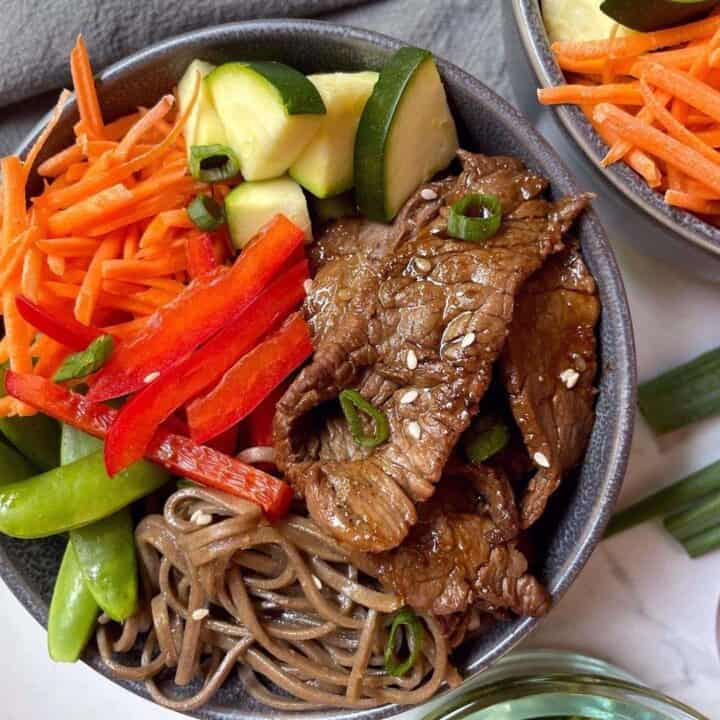 Overhead Close-Up shot of prepared beef noodle bowl