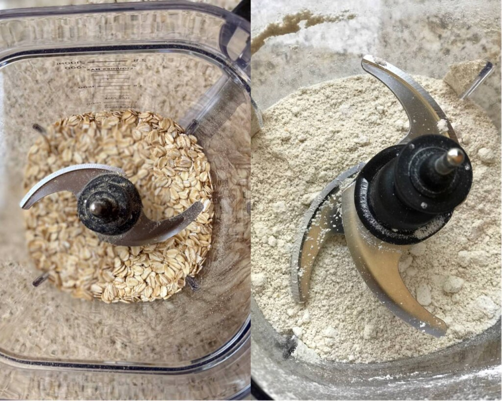 Side-by-side comparison of oats and oat flour in a blender